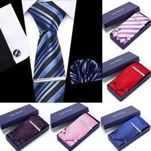 New Men ties set Extra Long Size 145cm*8cm Necktie Cuffint H