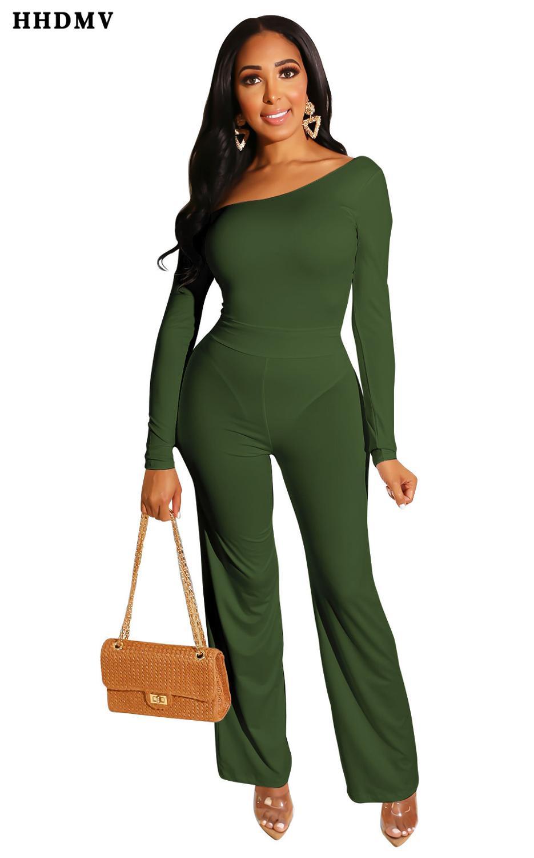 HHDMV FM1018 elegant high street style jumpsuits long sleeve one shoulder simple no decoration pure color jumpsuits long pants