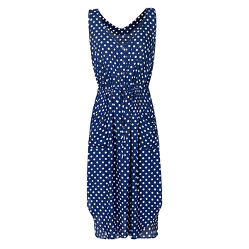 women dot printed causal dress 2020 summer sleeveless v neck with buttons pockets high waist casual office ladies vestidos mujer 4