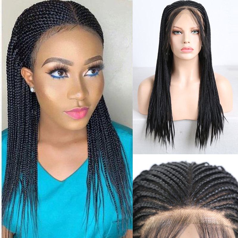 Charisma Synthetic Wig Middle Part Box Braided Wigs For Women Black Wigs With Baby Hair Synthetic Lace Front Wig