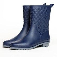 Jesienne kalosze damskie do połowy łydki gumowe buty do wody stałe deszczowe buty wiosna na co dzień płaskie buty na platformie damskie buty Botte Femme