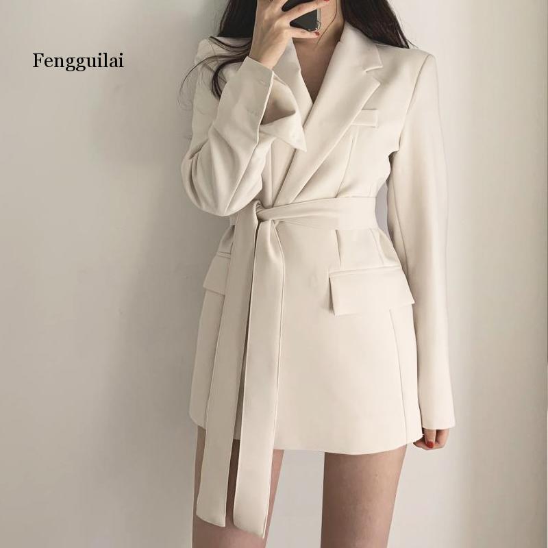 Elegant White Autumn Winter coat  Blazer Women Sexy Wrap High Fashion Bow Tie Blazers Coat Slim OL Femme Blazer with belt