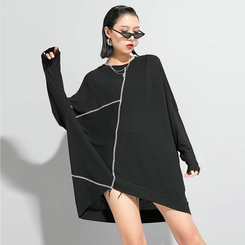 [EAM] Women Black Split Asymmetrical Big Size Loose T-shirt New Round Neck Long Sleeve  Fashion Tide  Spring Autumn 2020 1R630