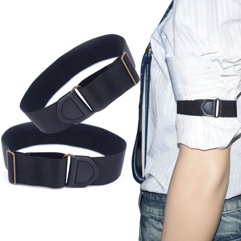 2x Mens Groom Shirt Sleeve Holder Metal Anti-slip Straps Elastic Stretch Armband