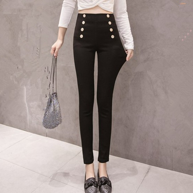 Video 2019 New Style Korean-style Autumn And Winter Double Breasted Slim Fit Skinny Pants Women's Significant Leg Length High-wa