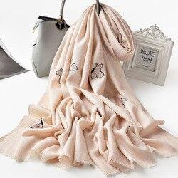 Wol Vlinder Borduurwerk Sjaal Voor Vrouwen Solid Warm Mode Wol Sjaals Wraps Winter Herfst Dames Grote Maat 100% Wol Sjaals