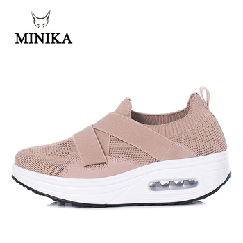 5 CM Toning Slip On Shoes Lady Lose Weight Air Sneakers women Minika Body shaping fitness slimming Swing sports shoes for female 4 5 cm height toning shoes for women fitness walking slimming workout sneakers wedge platform air swing shoes for female