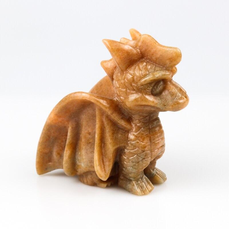 1PC Quartz naturel Dragon sculpté à la main topaze Figurine cristal poli Quartz guérison pierre maison décorative bricolage gemme cadeau Souvenir