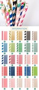 Image 2 - Pailles en papier pour boire, 100 pièces, vente en gros, à rayures, décoration de réception prénatale, cadeau et événements