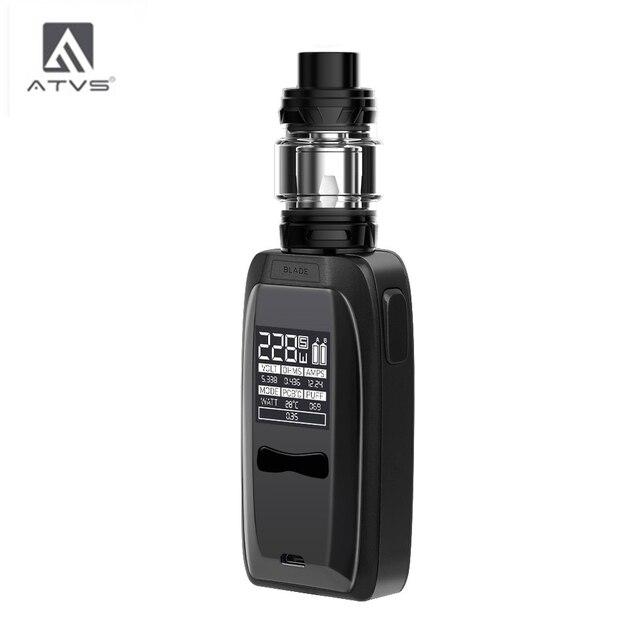 Atvs 228w lâmina cigarro eletrônico kit 18650 caixa mod com 5ml 510 thread tank 228w saída máxima enorme potência por 18650 bateria