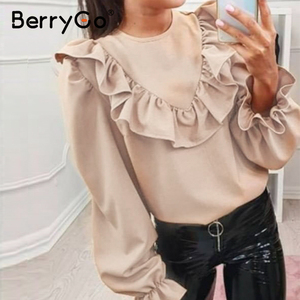 Image 3 - Женская блузка с рюшами BerryGo, Элегантная блузка Футболка с круглым вырезом на шнуровке сзади, весенне летний повседневный топ с длинными рукавами фонариками