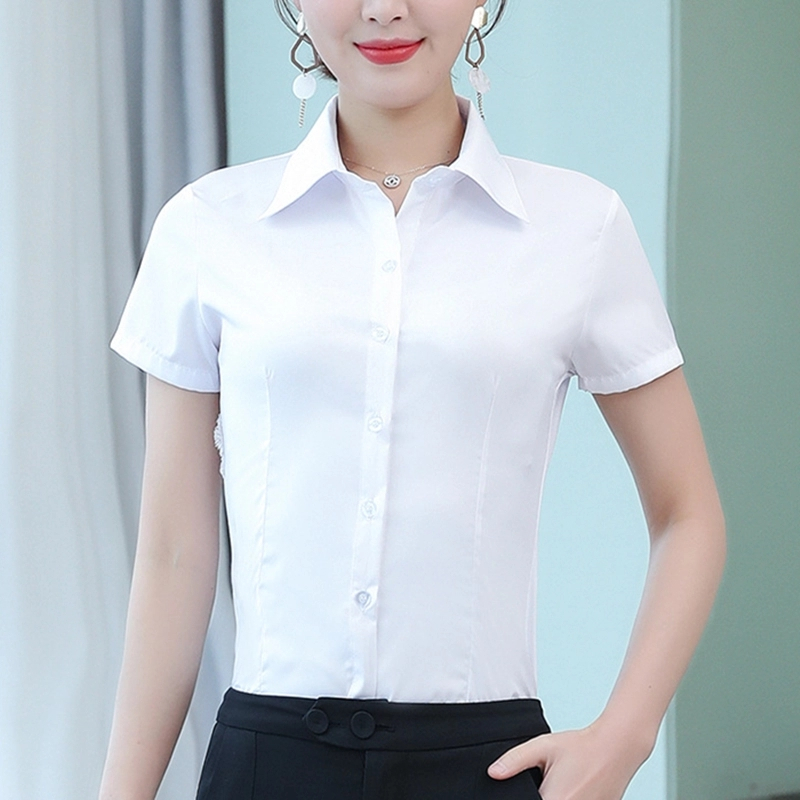 Korean Fashion Summer Cotton Women Shirts White Short Sleeve Women Blouses Ladies Plus Size 5XL Pink Womens Tops And Blouses