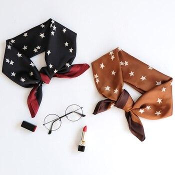 Luna&Dolphin Hair Band Small Square Scarf 70*70 Vintage Classic Chiffon Silk Neck Scarves Elegant Black Star Lady Bandana