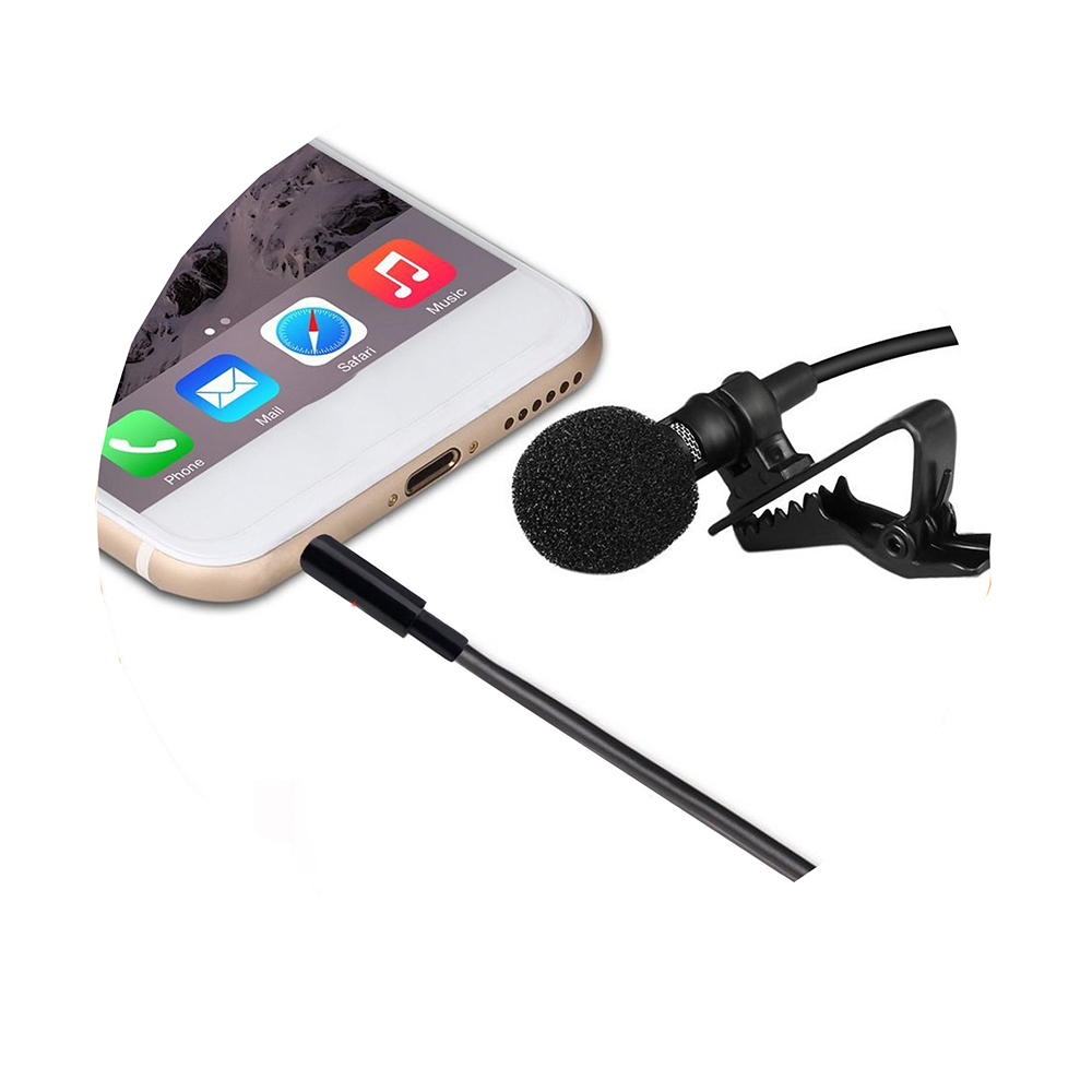 1.5m Mini Portable Microphone Condenser Clip-on Lapel Lavalier For IPhone IPad Android Smartphone DSLR Camera Computer PC Laptop