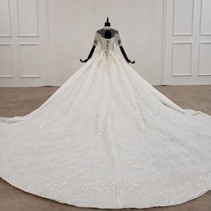 Image 2 - HTL1231 2020 lace wedding dress high neck half sleeve applique beading  crystal lace upback  bride dressing gown suknie slubne