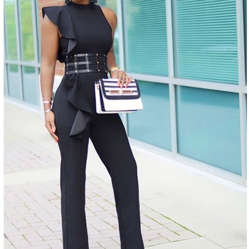 Office Lady Jumpsuits Elegant Long Black Sleeveless Causal Fashion Work Business Rompers 2020 Summer