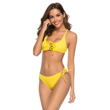 swimwear 2019 Bikini suit sexy Pure color swimsuit with tie swimsuit separate push-up Deep V Neck women's swimsuit swimwear deep v plain swimsuit