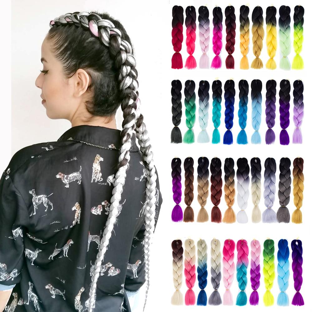 Синтетические косички для волос, косички для наращивания волос с эффектом омбре, розовые, фиолетовые, желтые, золотые цвета