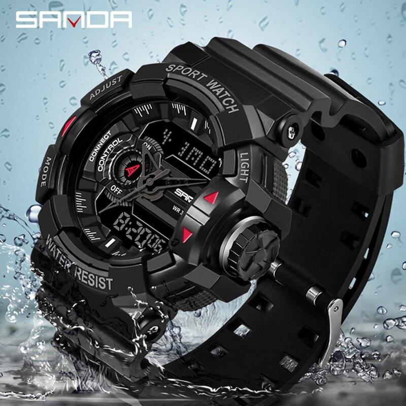 SANDA Sport Watch Top Brand Military Waterproof Wristwatch Fashion Quartz Clock Alarm Chronograph Men's Watch Relogio Masculino
