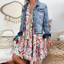 Mini Dress Vestido Party Floral V-Neck 40 Plus-Size Casual Beach Summer Long-Sleeve Bohemian
