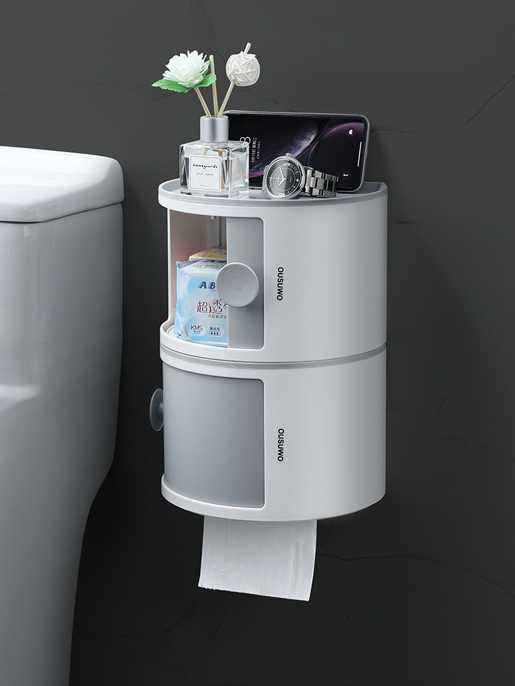 Toilet Tissue BoxToiletHousehold Storage Roll Paper Holder Without Hole Wall Hanging Shelf Multi Functional Laminated Waterproof