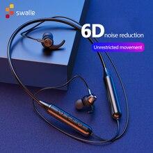 Swalle Original หูฟังไร้สายหูฟังกีฬาแม่เหล็กแขวนบลูทูธ 5.0 HD หูฟังลดเสียงรบกวนการควบคุมเพลง
