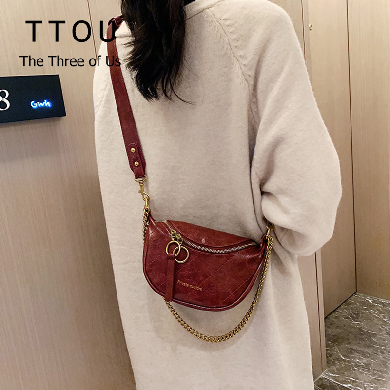 TTOU Vintage Pu Leather Pouch Women Waist Bag Fashion Belt Chest Bag Travel Crossbody Bags For Ladies Female Luxury Funny Pack