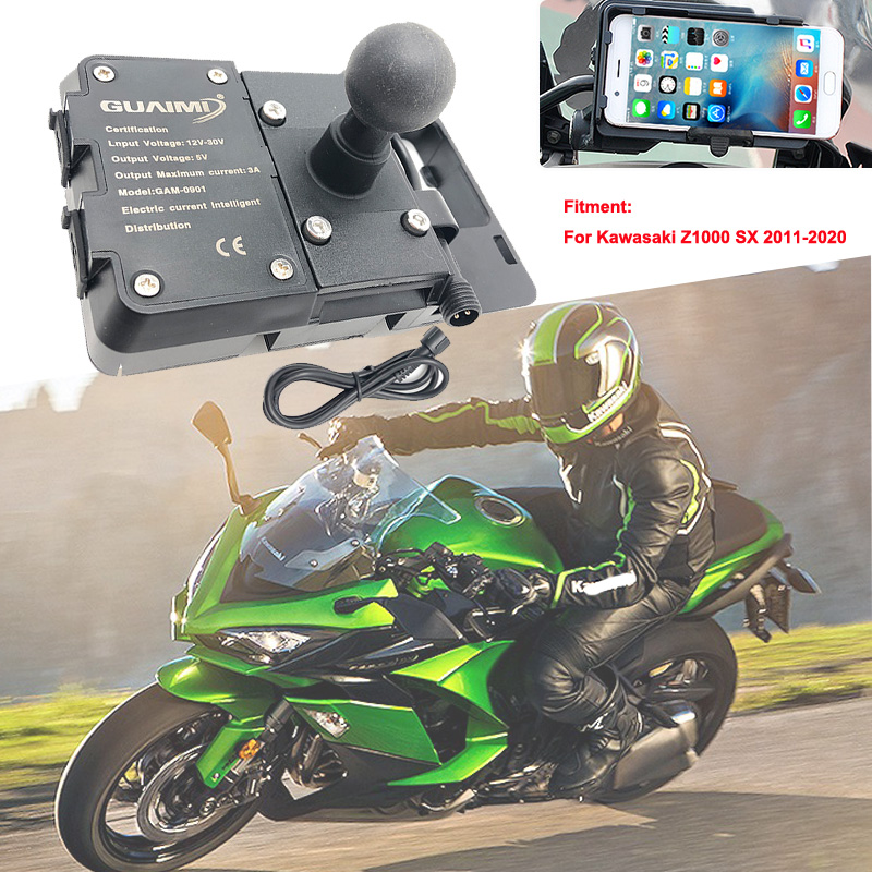 Motorcycle USB Charger Mobile Phone Holder Stand GPS Navigation Bracket For Kawasaki Z1000 SX <font><b>Z1000SX</b></font> 2011-2020 <font><b>2016</b></font> 2017 2018 image