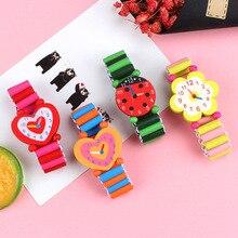 Relojes de pulsera de madera con dibujos animados para niños, bonitos relojes de pulsera artesanales, juguetes para aprendizaje y educación, favores de fiesta, 3 unids/lote
