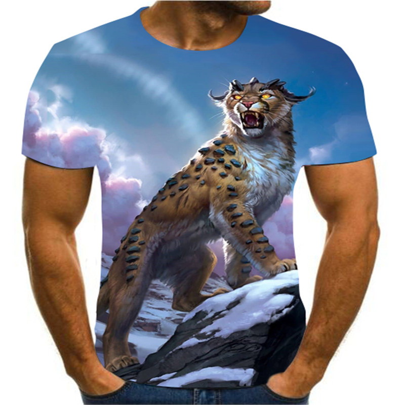 2020 Fashion Boutique 3D Printing Animal / Cartoon Creative Art T-shirt Summer Short Sleeve Men's Street Trend Versatile S-6xl