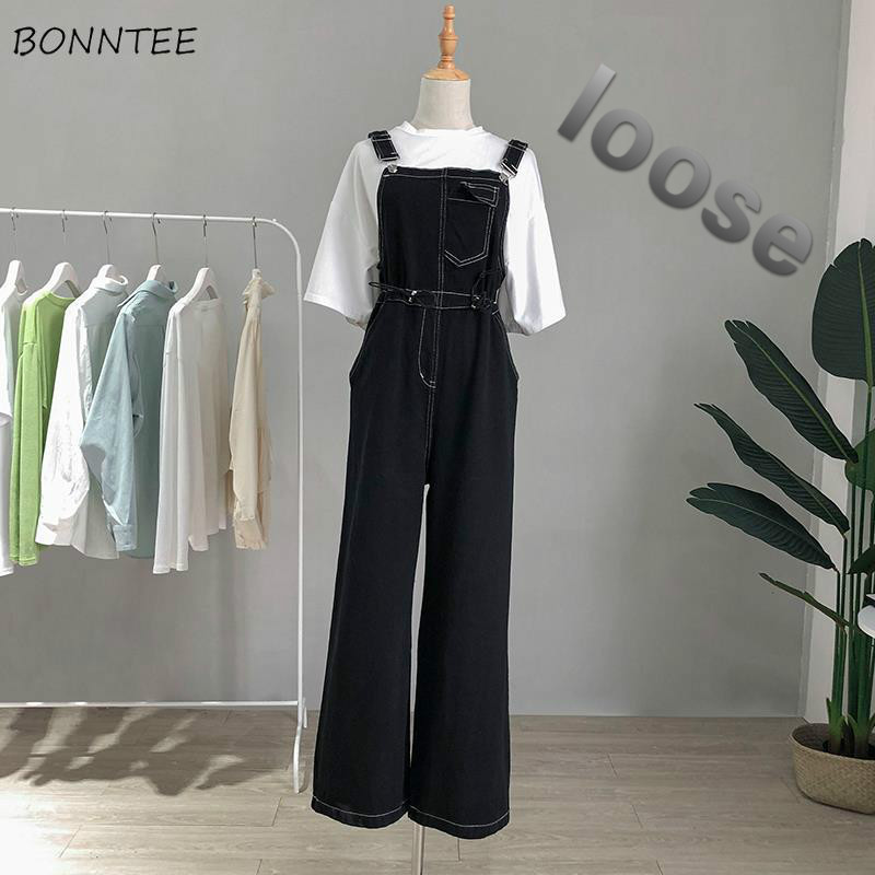 Jumpsuits Women Korean Style Fashion Loose Casual All-match Leisure Trendy Daily Pockets Streetwear Womens High Waist Harajuku