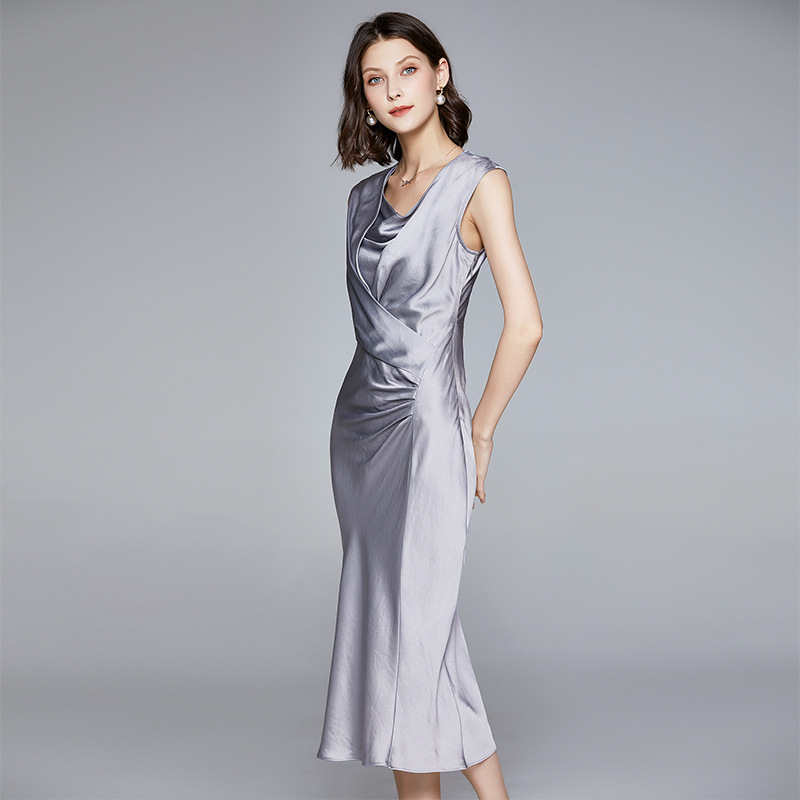 long real silk dress women natural silk 2020 silver summer midi dress short sleeve plus size fitted dresses sashes