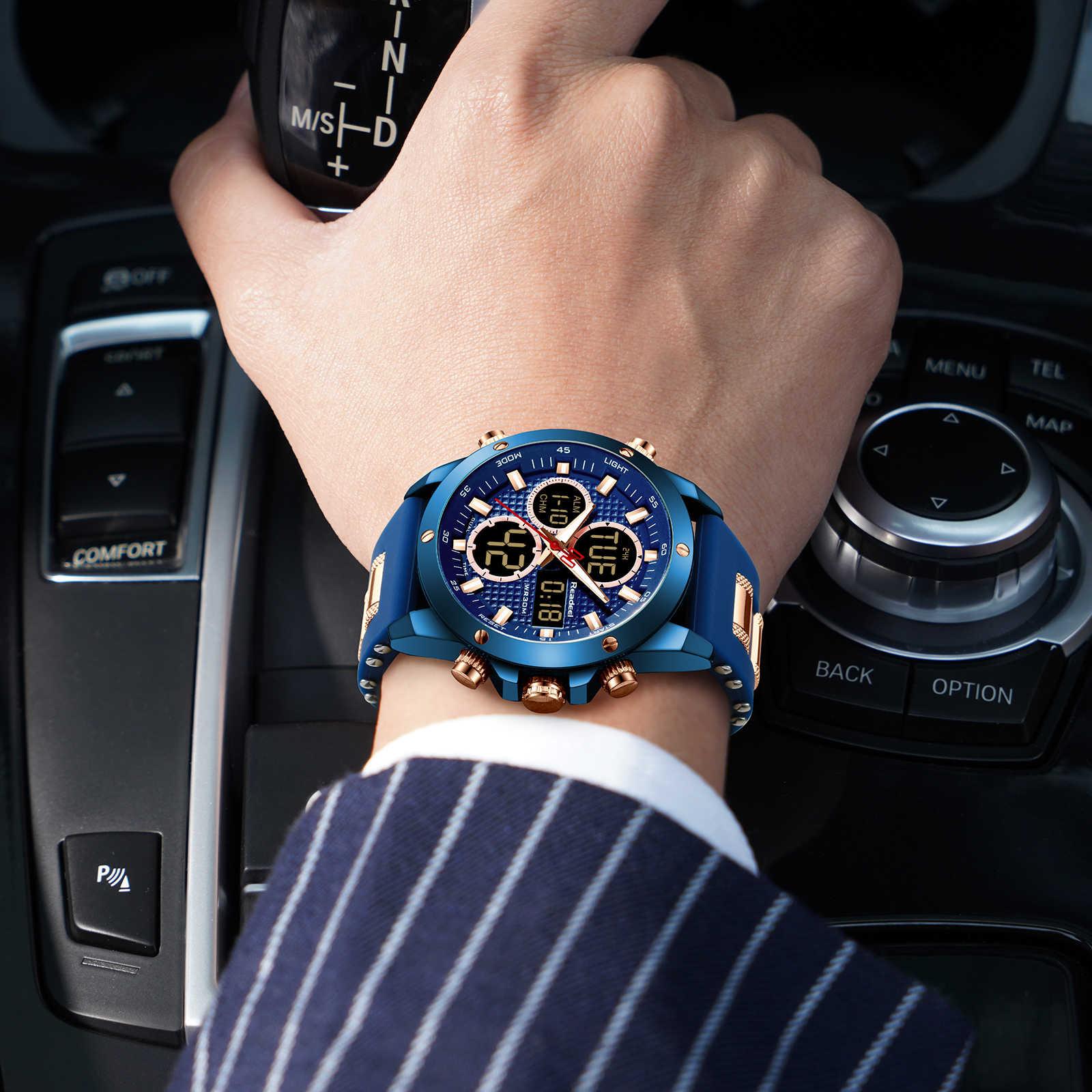 READEEL montres de Sport pour hommes de marque de luxe horloge à Quartz numérique pour hommes montre-bracelet militaire étanche en acier relogio masculino