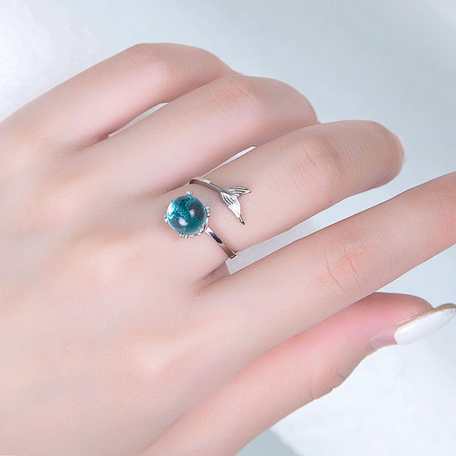 925 Silver Sterling Hand Made MerMaid Foam Opening Size Adjustable Female Style Simple Fashion Fishtail Ring Accessories 5