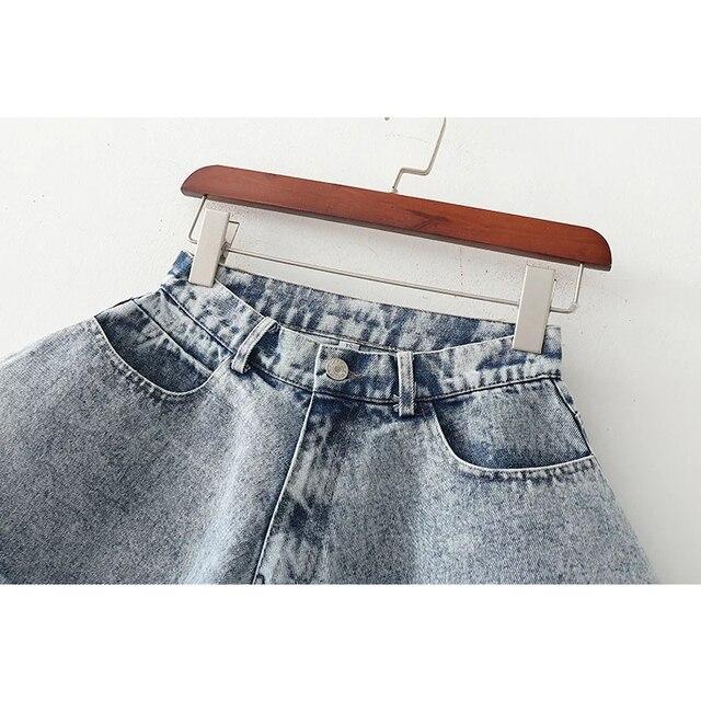 Denim Shorts Summer New Loose Wide Leg Denim Shorts Ripped Tasseled Retro Frayed Oversized Flared Culottes Fashion Streetwear 3