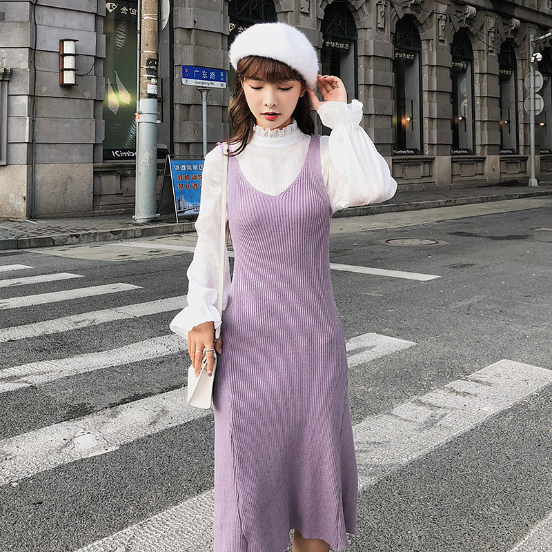 [Dowisi Main] Dress Women's 2018 Autumn Clothing New Style Korean-style Shirt Knit Tank Dress Women's F5397