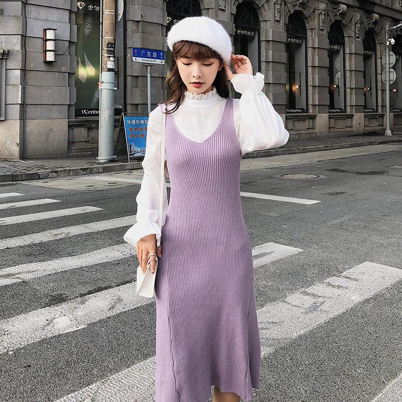 [Dowisi Main] Dress Women's  Autumn Clothing New Style Korean-style Shirt Knit Tank Dress Women's F5397