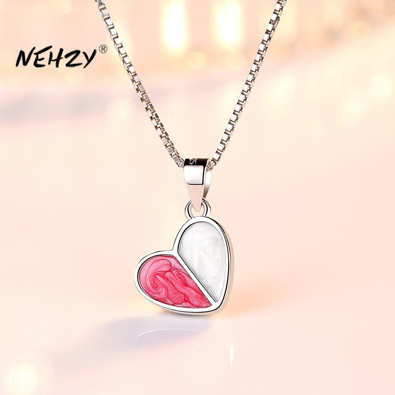Nehzy 925 Sterling Silver Necklace Pendant Fashion Jewelry New Woman High Quality Heart Shaped Crystal Necklace Length 45cm Special Discount 570d5 Cicig