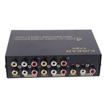 4-портовый AV аудио-вход RCA Видео 1 выход переключатель переключатель сплиттер селектор