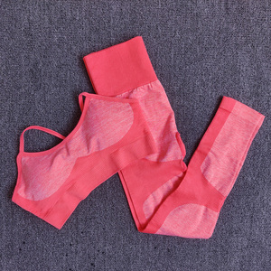 Image 1 - 10sets Wholesale Bulk Seamless Yoga Set Fitness Clothing Sportswear Women Gym Leggings Tights Sports Bra 2Pcs Sports Suits