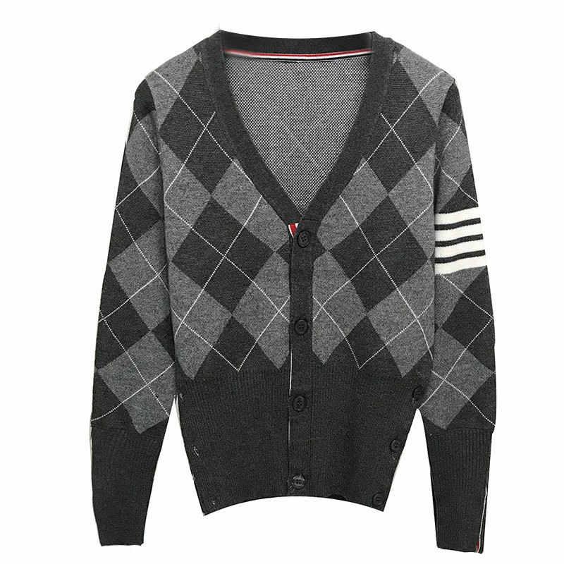 2020 패션 TB 톰 브랜드 스웨터 여성 느슨한 v-목 카디건 의류 아가일 스트 라이프 코튼 봄과 가을 캐주얼 코트