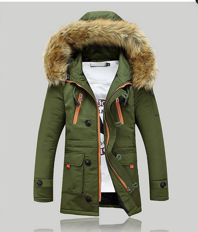 Winter Jackets Coats Parkas Hats Slim Overcoat Fashion Casual Hombre Solid Mens Clothes Warm Thick Windproof Fur Collar MOOWNUC
