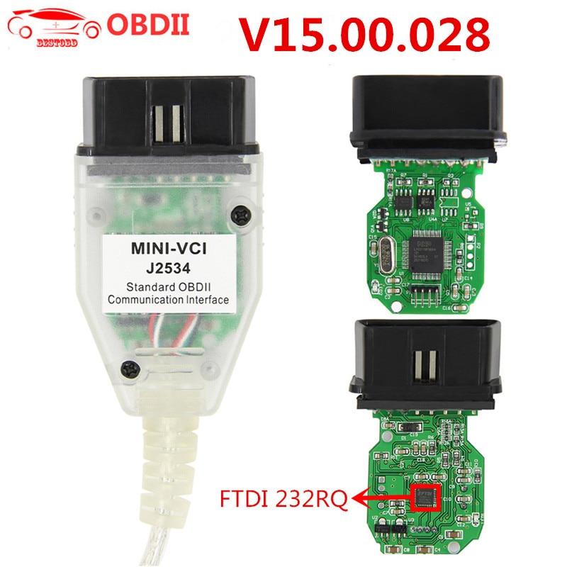Mini vci v15.00.028 tis techstream obd2 scanner interface para toyota ftdi ft232rq MINI-VCI j2534 obdii obd2 diagnóstico cabo