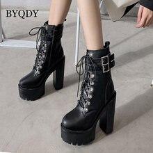 Женские мотоциклетные ботинки byqdy черные с металлическим украшением