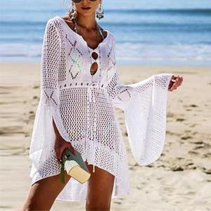 Loozykit Dress Robe Beachwears Bikini-Cover Pareos Bathing-Suits Plage Crochet Beach-Tunic