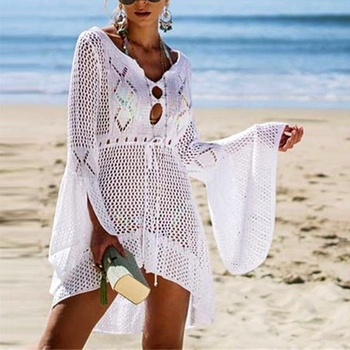 Loozykit 2019 Women Crochet Knitted Cover Up Dress Beach Tunic Long Pareos Bikini Cover Bathing Suits Beachwears Robe Plage 1