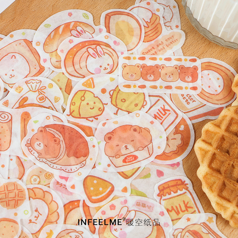 40 pcs/pack cute Bread good weather series Journal Decorative Stickers Scrapbooking Stick Label Diary Stationery Album Stickers