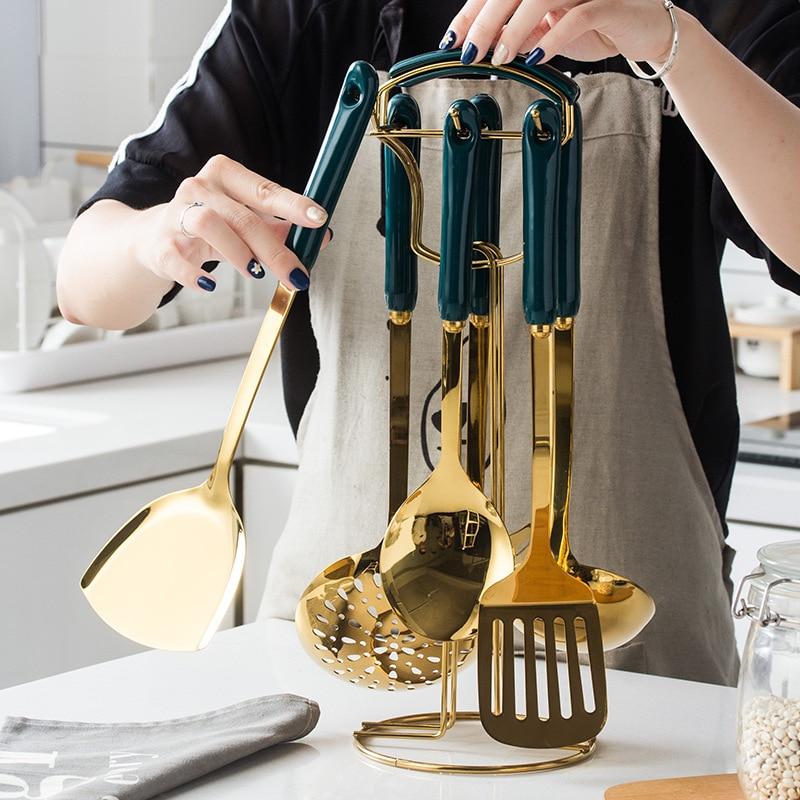 Dark Green Ceramic Stainless Steel Kitchen Utensils Set Kitchen Utensils Cooking Spoon Shovel Seven Sets Of Kitchenware Gift Set