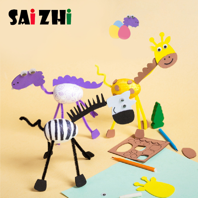 Saizhi Toys For Children Crafts Kids DIY Homemade 3D Animals Kindergarten Learning Early Education Toys Diy Creative Toy  Gift