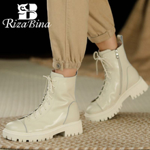 Winter Shoes RIZABINA Boot-Footwear Short-Boots Platform High-Heel Real-Leather Fashion